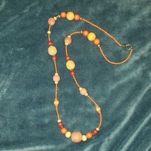 Jewelry - Orange/Wooden Necklace